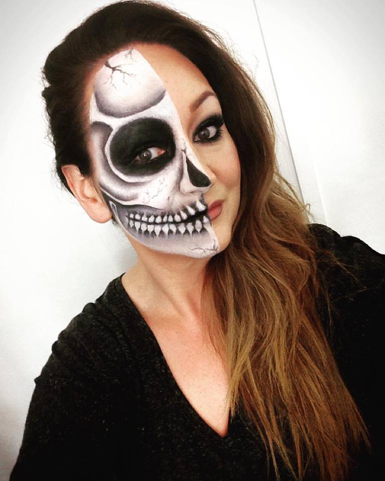 Halloween make-up, (half skull.) Make-up by Tina Brocklebank Make-up artis