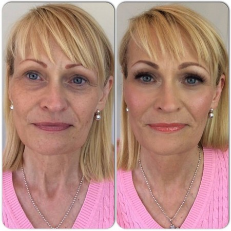 The lovely Sue, before and after makeup.