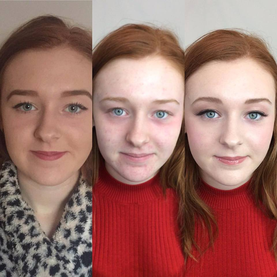 Photo demonstrating how a client usually applies her makeup, no makeup and then make-up that I apply.