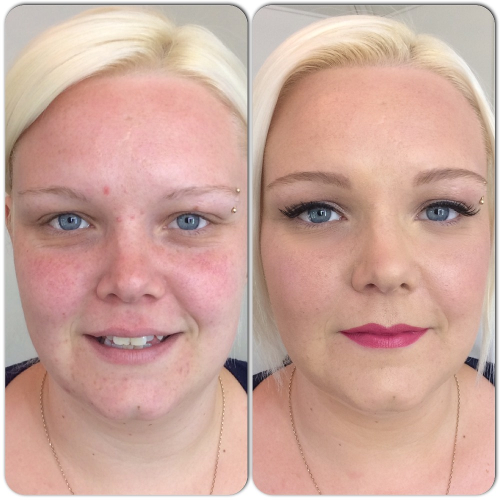 Melissa, before and after makeup. Make-up by Tina Brocklebank.