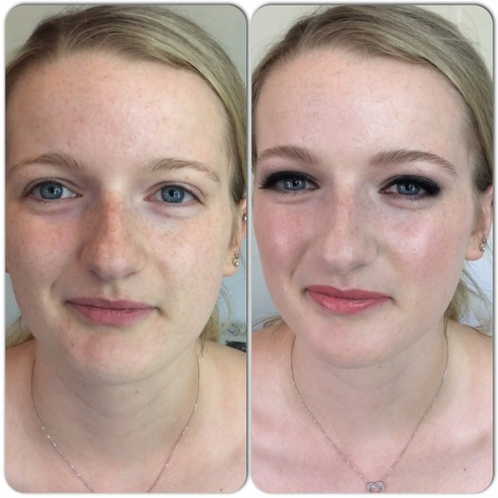 Beautiful before and beautiful after make-up.