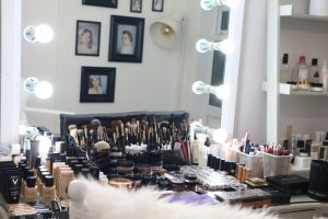 Tina's make-up studio and kit.