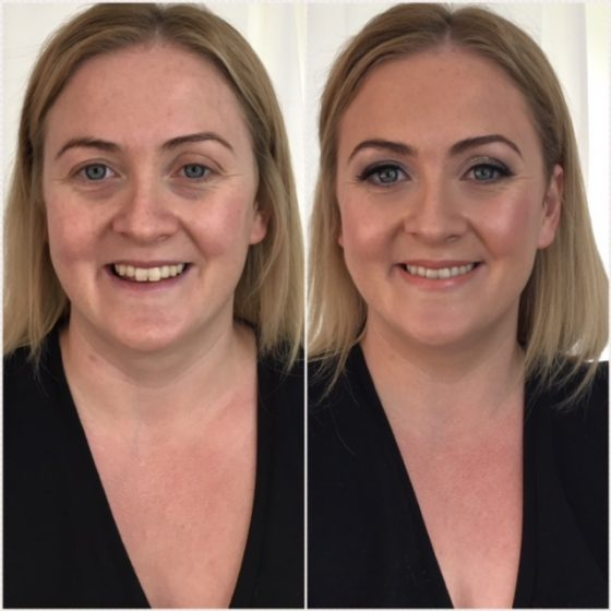 Before and after makeup. Bridal makeup by Tina Brocklebank Make-up artist, Lincolnshire.