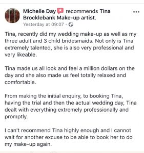 Tina Brocklebank Make-up artist review.
