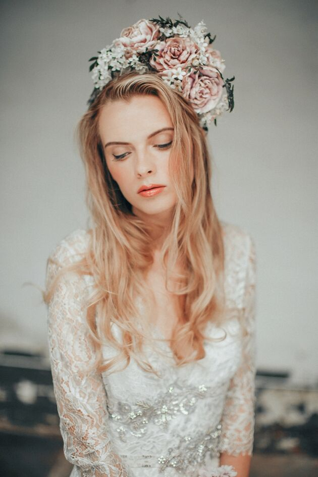 Photo by Jess Petrie. Makeup by Tina Brocklebank. Dress Claire Pettibone. Flowers - Amy Swann. Hair Laurent Bercent.