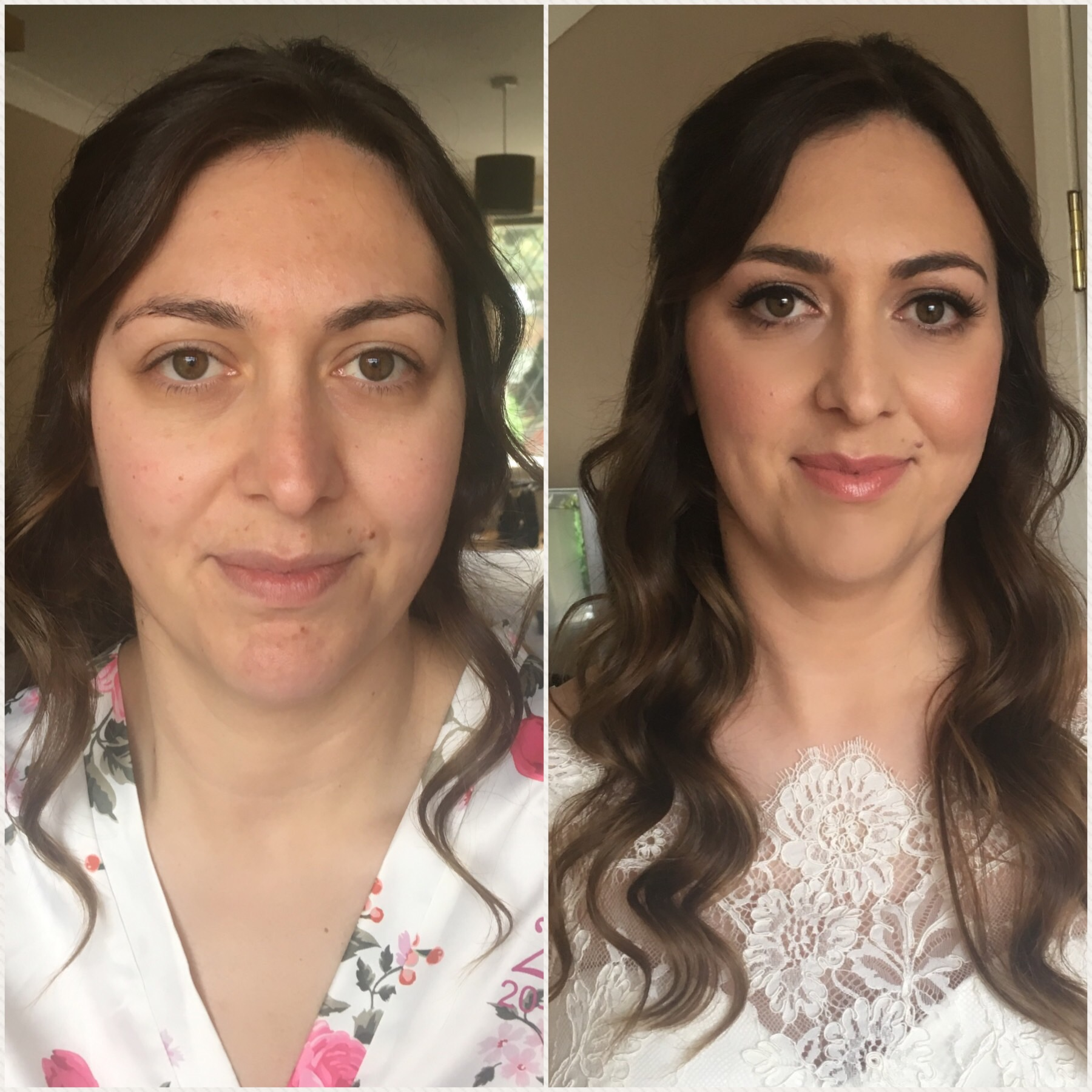 Before and after makeup. Make-up by Tina Brocklebank.