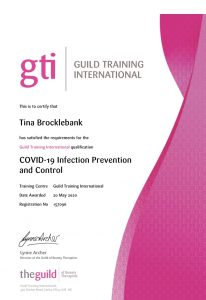 COVID-19 Infection prevention and control certificate.